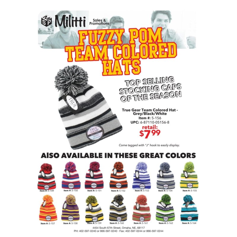 True Gear Pom Beanie - Black/White/Gray