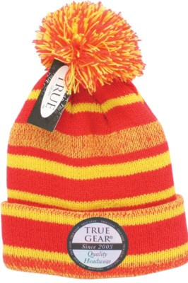 True Gear Pom Beanie - Red/Gold/White