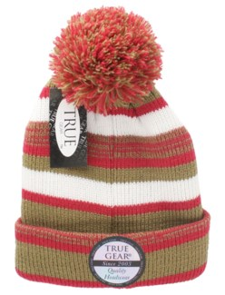 True Gear Pom Pom Cap - Red/Gold/White