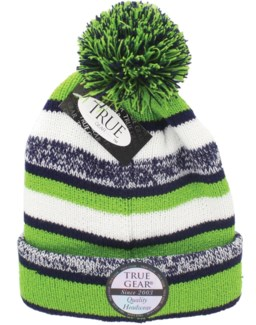 True Gear Pom Beanie - Blue/Green/White