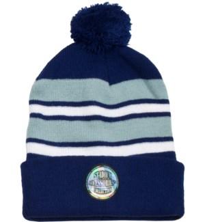 Pom Beanie Navy/White/Gray - Stadium Series