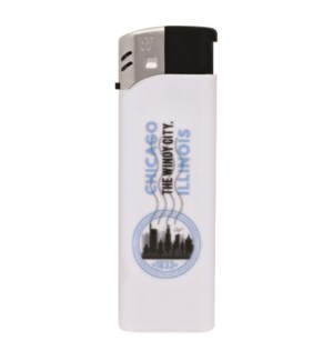 White Electronic Lighter with Chicago Logo