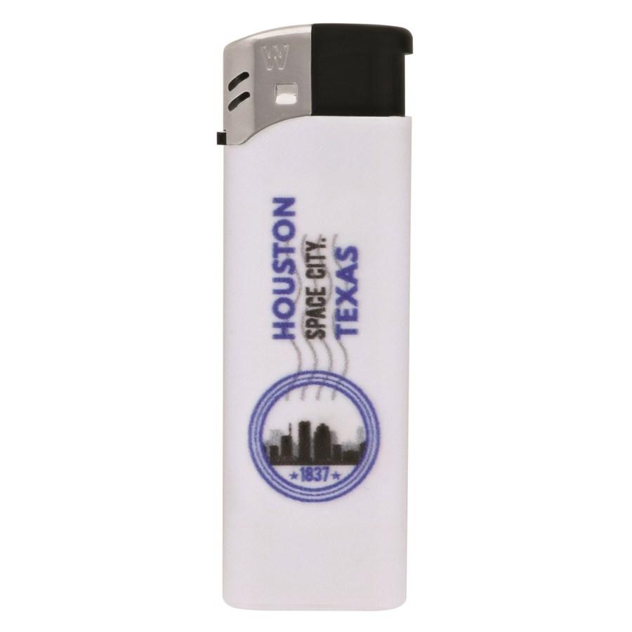 White Electronic Lighter with Houston Logo