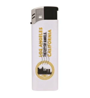 White Electronic Lighter with Los Angeles Logo