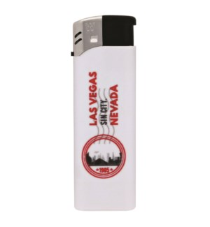 White Electronic Lighter with Las Vegas Logo