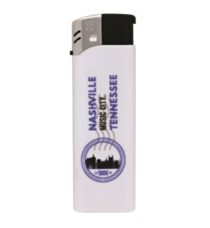 White Electronic Lighter with Nashville Logo