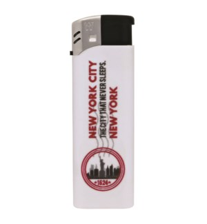White Electronic Lighter with New York City Logo