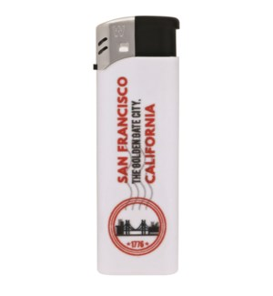 White Electronic Lighter with San Francisco Logo