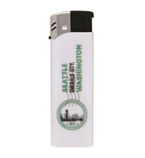 White Electronic Lighter with Seattle Logo