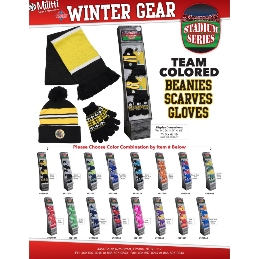 Team Colored Beanies, Scarves and Gloves Shipper - 48pcs