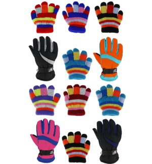 Juniors' Winter Gloves Mix - 12pcs