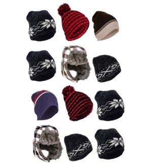 Men's Winter Hat Mix - 12pcs