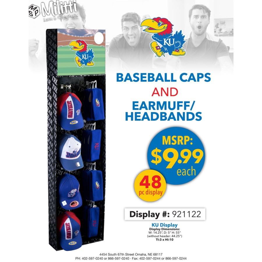 KU Baseball Caps and Earmuff/Headbands Shipper - 48pcs