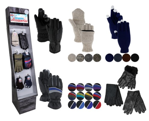 Men's Gloves Assortment Display - 48pcs