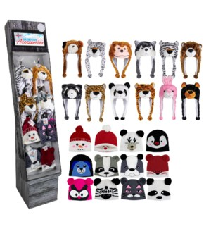 Animal & Multicolored Hats Shipper - 36pcs