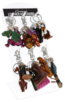 Handmade Leather Keychains Counter Display - 36pcs