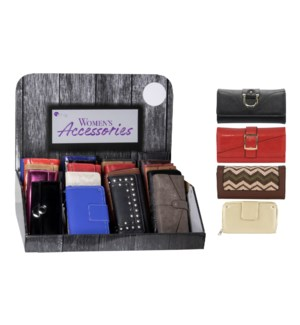 Executive Women's Wallets Counter Display - 24pcs