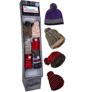 Trendy Pom Beanie Display - 60pcs
