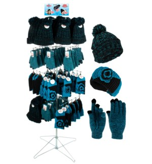 Teal & Black Team Spirit Wire Floor Display - 96pcs