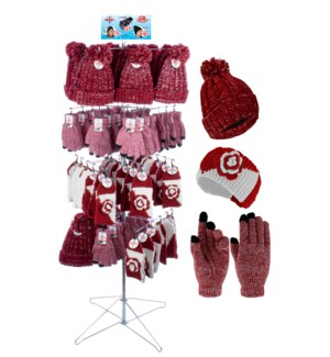 Crimson & White Team Spirit Wire Floor Display - 96pcs