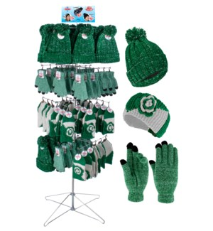 Green & White Team Spirit Wire Floor Display - 96pcs
