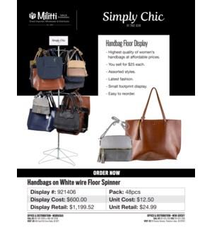 $25 Handbags on White Wire Floor Spinner - 24pcs