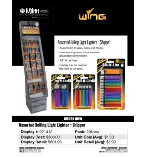 Assorted Rolling Light Lighter Shipper - 204pcs