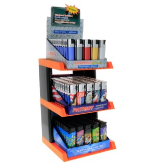Windproof Electronic Lighters 3-Tier Display - 150pcs