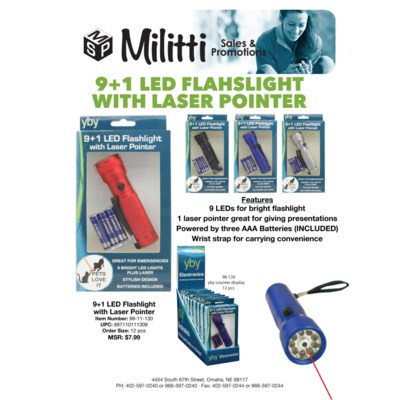9 + 1 LED Flashlight with Laser Pointer